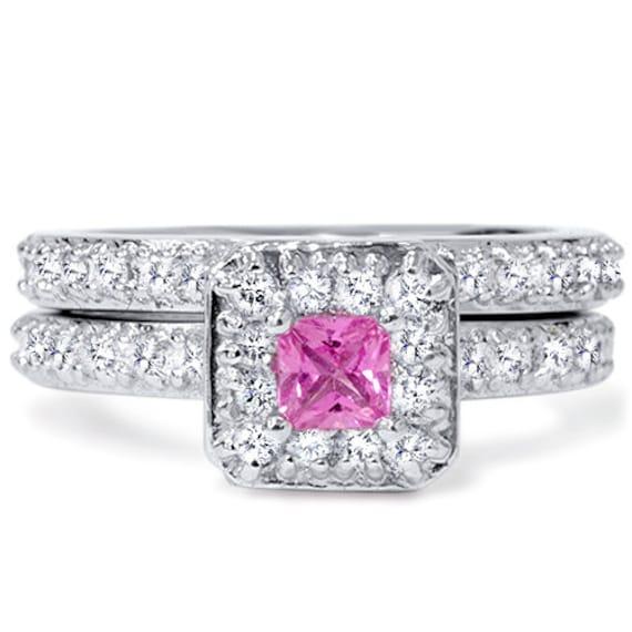 princess cut pink sapphire engagement 1 31ct pave