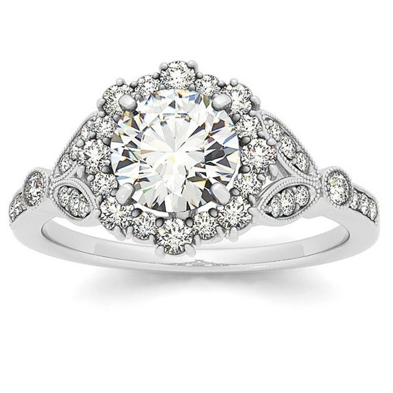 Lab Grown Diamond Engagement Ring Vintage Halo Diamond