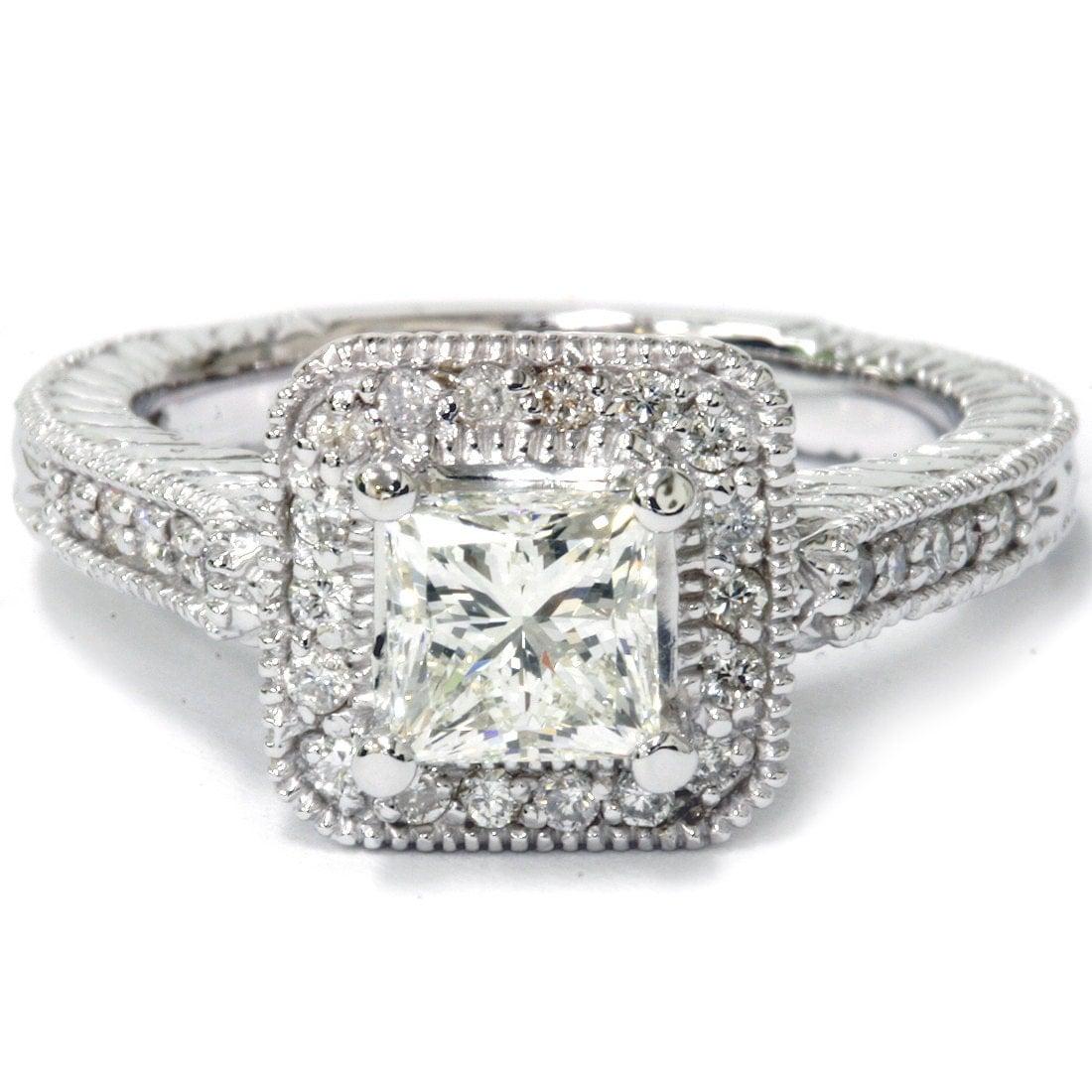 1 55ct princess cut engagement ring halo vintage