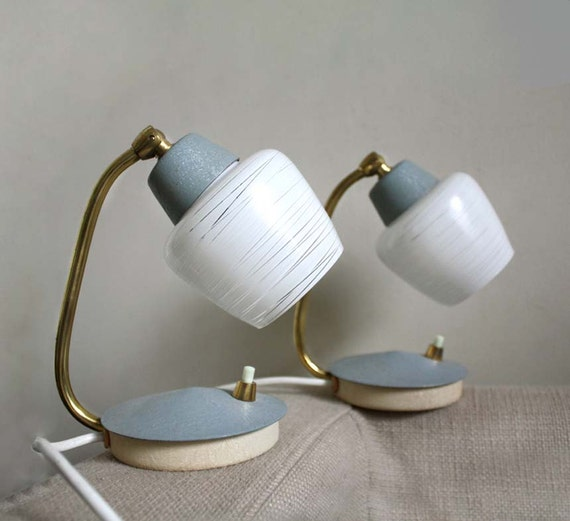 Midcentury Modern Table Lamps. White Textured Glass Lamp Shades, Gold and Gray Accents. Mad Men Style Lighting