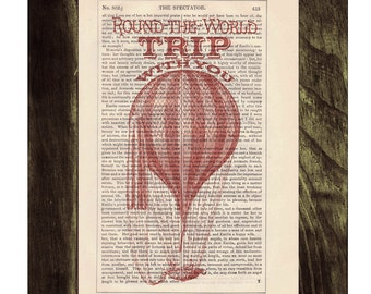 Dictionary print Love trip  Hot air Balloon Print on Vintage Book - mixed media art TVH144