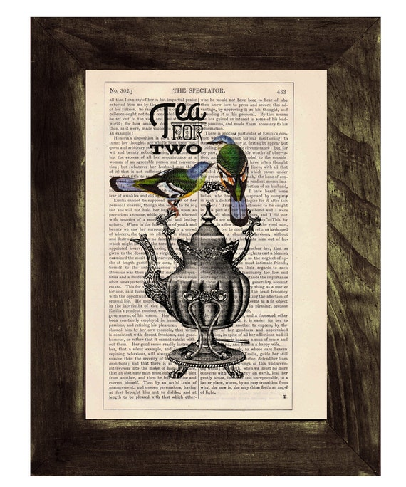 Spring Sale Dictionary print art Tea for two- Wall art collage-  Upcycled book page Art Dictionary  print- Home decoration BPTQ026