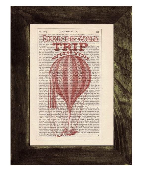 Spring Sale Dictionary print Love trip  Hot air Balloon Print on Vintage Book - mixed media art BPTV144