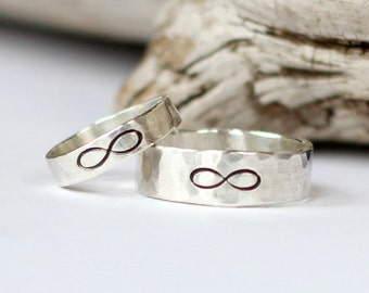 Infinity Wedding Bands, Promise Rings, Wedding Ring Set, Couples Rings, Purity Rings