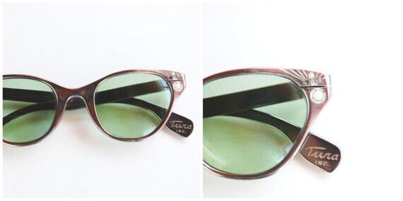 Vintage 50s Tura Eyeglasses Aluminum with Chrome Finish, Pearls and Rhinestones