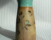 Turquoise Blue Rimmed Stoneware Flowered Vase