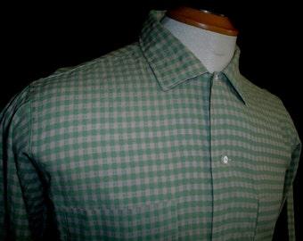 60s 16L Tall Burma Pride Cotton Acetate SHIRT Moss Green Beige Check