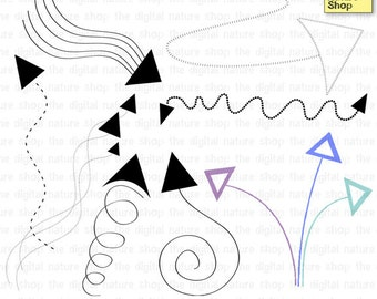 Arrows Doodles - Design Elements - 8 Digital Stamps and Brushes - INSTANT DOWNLOAD - for Cards, Scrapbooking, Collage, Journaling and more