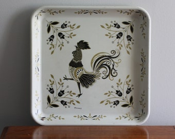 Vintage Metal Tray with Rooster Mid Century Cream Black Gold