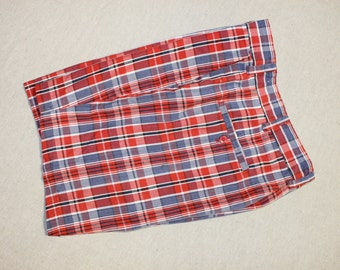 "vintage 70's - 80's Men's shorts.  Flat front - 'drop' belt loops. Red, White, & Blue Madras.  34"" Waist"