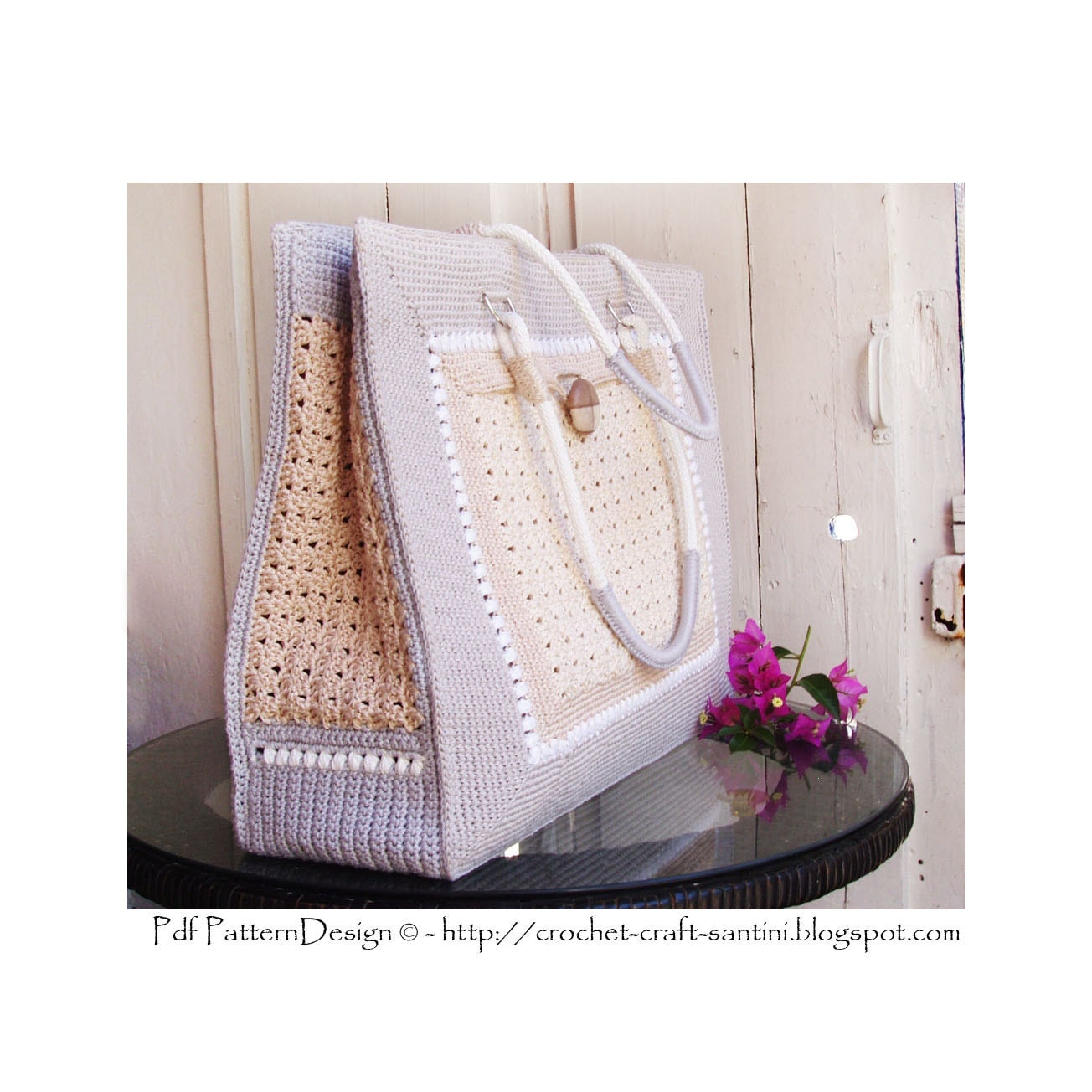 Crochet Bag With Pockets Pattern : Shopping-Bag with Pockets Crochet Pattern Instant Download