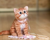 Kitten Orange - real sized Needle Felted toy (MADE TO ORDER)