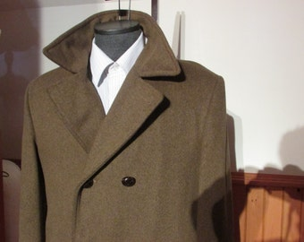 Mens Wool Coat New Old Stock By High End Croydon Double Breasted  AmbassadorThree Quarter Length Model Promenade Deluxe Size 40 41