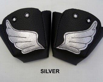 Black leather Roller Derby skate toe guards with Wings