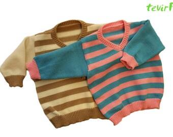 Sweater - 1 - 24 months - 100% merino wool striped baby kid newborn child toddler V-neck girl boy