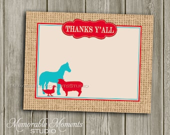 """INSTANT DOWNLOAD - Printable 5.5""""x4.25"""" flat Thank You Cards - Vintage Petting Zoo Aqua and Red Burlap Design - Memorable Moments Studio"""