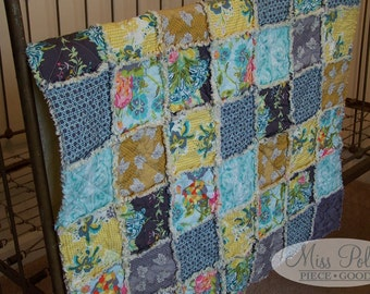 Baby Crib Bedding- READY TO SHIP Baby and Toddler Rag Quilt in Lilly Belle fabrics