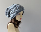 Hand Knit Hat ,  Chunky Grey Slouchy Beanie Cabled Braided Women