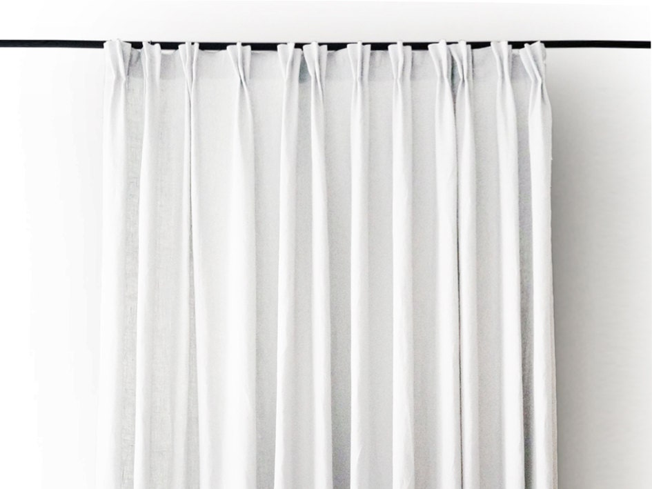 Pinch Pleat Curtains Linen Drapes Blackout Lined By