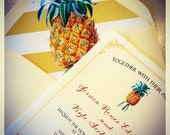 NEW! Vintage Botanical Pineapple Illustration Wedding Invitation
