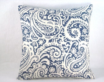 Blue and White Pillow Paisley Pillow Decorative Pillow Accent Pillow 18x18 Pillow Robert Allen Pillow Linen Pillow Cover