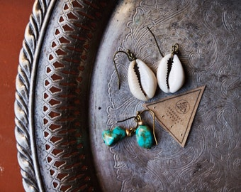 STE-01, handmade high quality turquoise earrings and cowrie shell earrings set