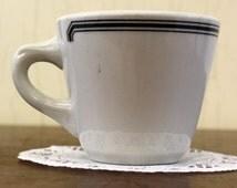 Vintage Shenango Restaurant China Cups w/Striped Black Design (E4017)