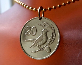 Olive Branch Pendant. FRIENDSHIP  Necklace. Song BIRD pendant.  Bird Lover Gift .Cyprus Coin Jewelry . BIRD charm. Turkey jewelry No.002063