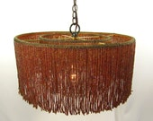 Chandelier Pendant Beaded Multi Browns Glass Fringe Hanging Quality Custom Handmade