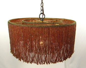 Chandelier Pendant Lampshade Beaded Multi Browns Glass Fringe Hanging Quality Custom Handmade