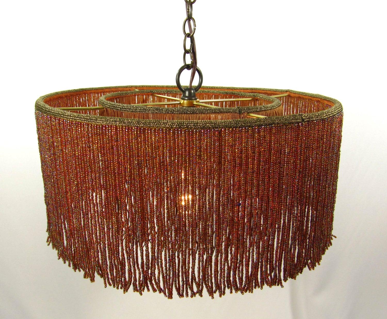 Wood Beaded Light Fixture: Chandelier Pendant Lampshade Beaded Multi Browns Glass Fringe