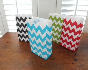 Blue Chevron Bags with Gusset - Set of 20