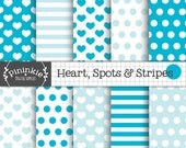 Digital Paper Pack - INSTANT DOWNLOAD - Hearts, Spots and Stripes - Valentines Day Blue