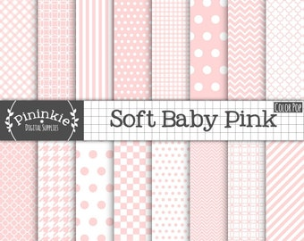 Baby Pink Digital Paper - New Baby Digital Paper Pink - Instant Download - Commercial Use CU - pink chevron, pink polka dots, pink stripe