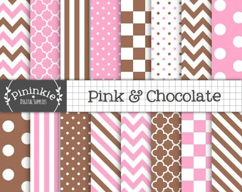 Pink and Brown Digital Paper, Background Digital Paper, Pink Chevrons, Polka Dots, Diagonal Stripes, Commercial Use