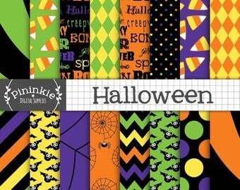 Halloween Digital Paper, Digital Scrapbook Paper, Chevron, Polka Dots, Bats, Spiders, Candy Corn, Orange, Green, Purple, Black