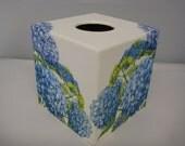 Blue Hydranga Tissue Box Cover wooden handmade in UK