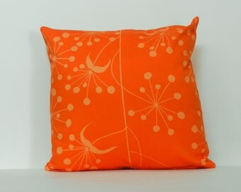 Throw Pillow Cover Orange, Tangerine Floral 16 x 16 inch with zipper closure satin finish home dec fabric