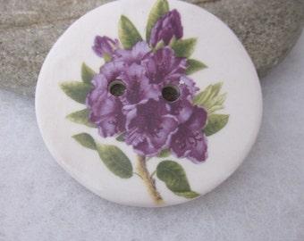Purple Rhododendron Posy Ceramic Button