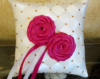 Wedding Ring Bearer Pillow, Custom Made to your Colors with Swarovski Crystals and Satin Flowers Decoration