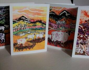 Sheep  Batik cards set   -  Pastures farm series   -   Set of four blank cards