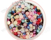 10MM - Mixed Color Pearl Flatback Decoden Cabochons,  Half Pearl Cabochons, Flat Pearls, 10mm Flatback Pearls, Embellishment (R4-079)