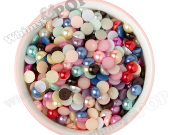10MM - Mixed Color Pearl Flatback Decoden Cabochons,  Half Pearl Cabochons, Flat Pearls, 10mm Flatback Pearls, Embellishment (R4-079)