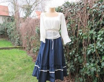Cotton Skirt Vintage / Pockets / Lining / Size eur42 / uk14 / Pockets