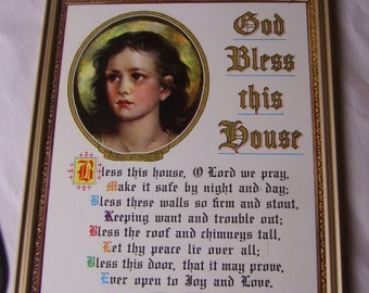 Vintage/Antique God Bless This House Wall Hanging-Religious Jesus