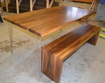 Walnut Dining Table - Matching Waterfall Bench