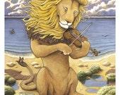 "Lion on Violin print 8"" x 10"""