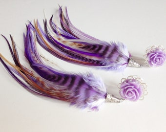 """Purple Plugs 00g Dangle Plugs, 9/16"""" 14mm Ear Plugs, 1/2 inch Feather Plugs, Gauged Lavender Earrings With Feathers Body Jewelry"""