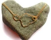 Gold Maui Necklace, Hawaii Beach Jewelry, Island Style, Heart in Hana, Fine Double Chain, Maui Outline, Gift Idea, Maui Wedding