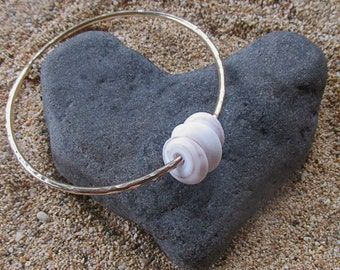 Hawaiian Puka Shell Bangle, Thick Gold Hammered Bracelet, Hawaii Beach Jewelry, Surfer Girl Gift Idea, Wedding Accessory, Mermaid Jewels